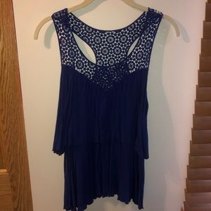 Blue tank top with lace top